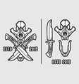 Wolf Skull with Crossed Knives Logo Emblem vector image