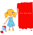 Cute little girl painting the wall with red color vector image