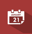 calendar icon with shade on red background vector image