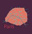 flat urban city map of paris france vector image