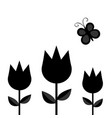 three tulip flower set with leaf and flying vector image