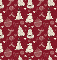 Vintage pattern of snowmen snowflakes and vector image