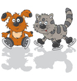 Dog and cat skaters vector image