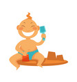 boy or girl kid making sand castle at beach vector image