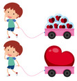 boy with pink wagons with heart shapes vector image