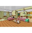 Cartoon old shabby apartment interior vector image