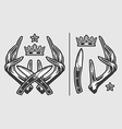 Horns with Crossed Knives and Crown Logo Emblem vector image
