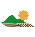 silhouette colorful seeding with mountain and sun vector image