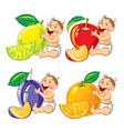 smiling baby with a orange lemon plum and apple vector image