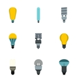 Types of lamps icons set flat style vector image