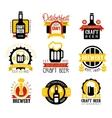 Craft Beer Set Of Logo Design Templates vector image