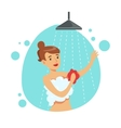 Woman Washing Herself With Sponge In Shower Part vector image