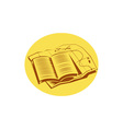 Open Book Trail Map Oval Woodcut vector image