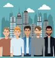 group men diversity urban background vector image