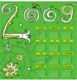 2009 curly calendar starts Monday vector image vector image
