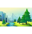 City buildings view with nature vector image