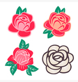 Roses twig with leaves set vector image