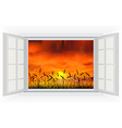 Open windows of sunset in the reed on the nature vector image