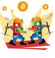 bitcoin green powerful vector image