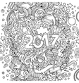 Cartoon cute doodles hand drawn New Year vector image