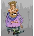 cartoon homeless man begging for money vector image