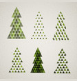 collection of vintage retro christmas trees vector image