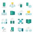 Hosting service flat icons set vector image