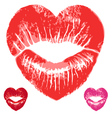 red heart lips set vector image