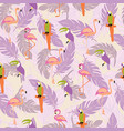 seamless pattern with exotic tropical birds and vector image
