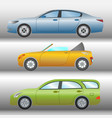 set of cars of different types and colors vector image