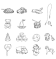 Toys Sketch Icons Set vector image