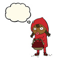 little red riding hood cartoon with thought bubble vector image