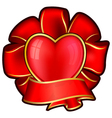 red bow with heart and ribbon for valentines day vector image