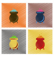 Assembly flat shading style icons cauldron vector image