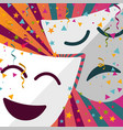 carnival masks with confetti stars and streamers vector image