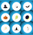 flat icon halloween set of gourd cranium witch vector image