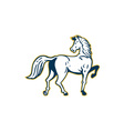 Horse Prancing Rear View Retro vector image