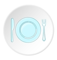 Plate with spoon and fork icon cartoon style vector image