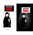 Death holds banner Black Friday sale Grim Reaper vector image