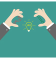 Businessman hands holding contour idea light bulb vector image