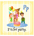 Flashcard of P is for party vector image