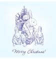 christmas greetings family rabbits hand drawn vector image