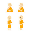 monk cartoon set peaceful isolated white vector image