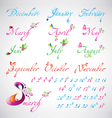 Set of seasons months calligraphic design elements vector image