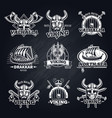 vintage white viking emblems set vector image
