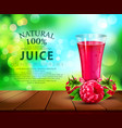 glass cup with juice of raspberry standing on a vector image vector image