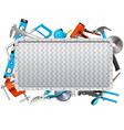 metal frame with hand tools vector image