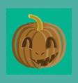 Flat shading style icon halloween pumpkin emotions vector image