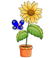 A butterfly near the pot with a flowering plant vector image vector image