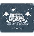Vintage summer surf print with a mini van palm vector image